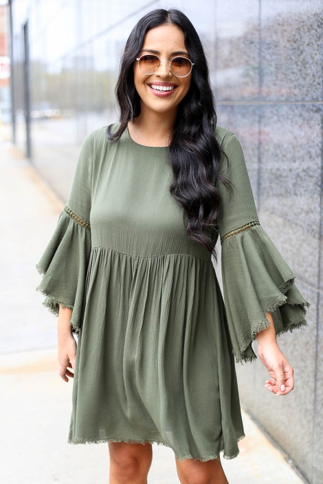 Olive - Bell Sleeve Raw Hem Babydoll Dress