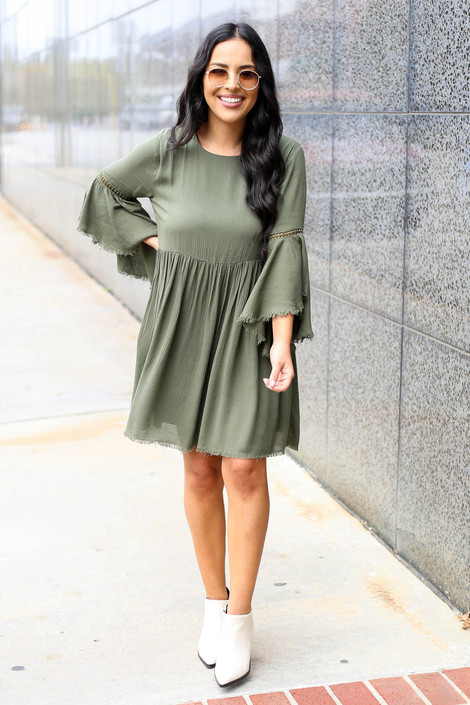 Olive - Bell Sleeve Raw Hem Babydoll Dress Full View
