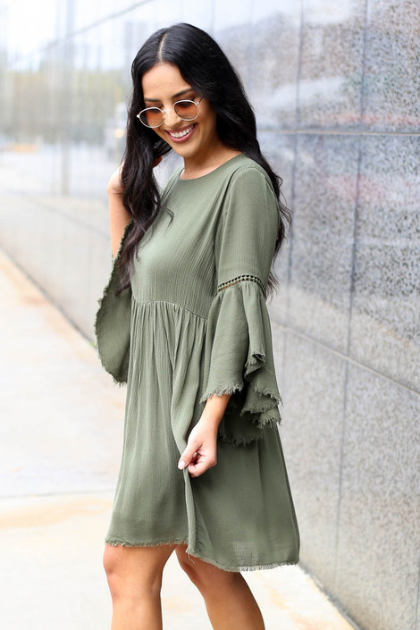 Olive - Bell Sleeve Raw Hem Babydoll Dress on Model