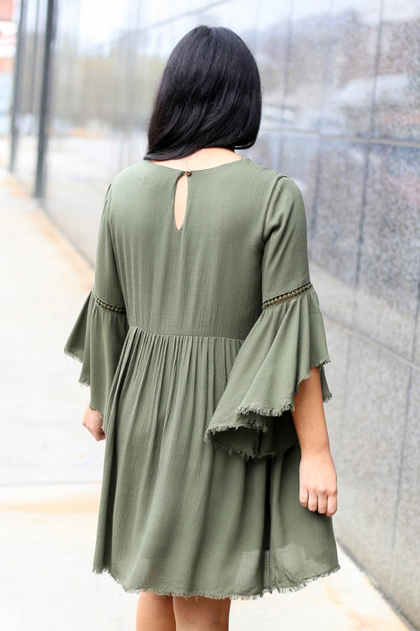 Olive - Bell Sleeve Raw Hem Babydoll Dress Back View