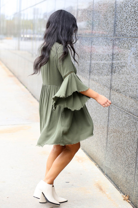 Olive - Bell Sleeve Raw Hem Babydoll Dress Side View