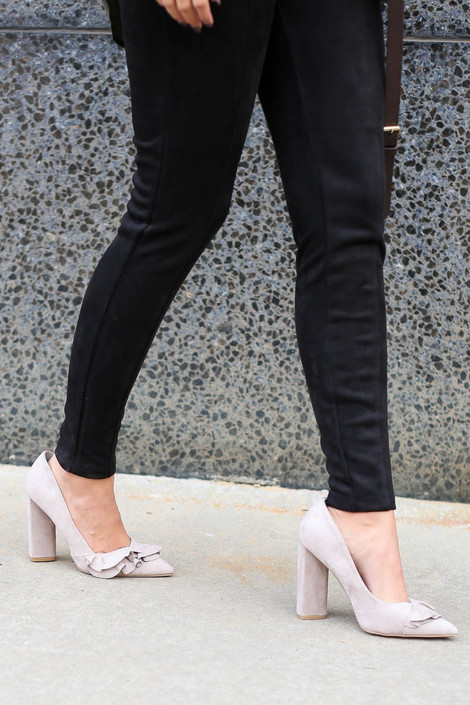 Taupe - Ruffle Block Heels Full View