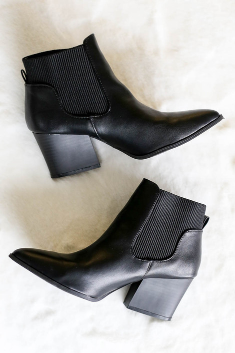 Black - Pointed Toe Contrast Booties Flat Lay