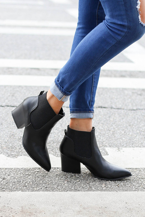 Black - Pointed Toe Contrast Booties Side View
