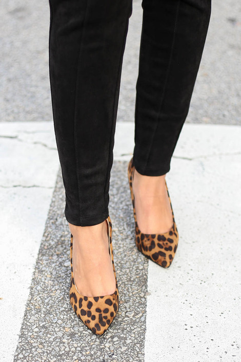 Leopard - Pointed Toe Pumps Top View