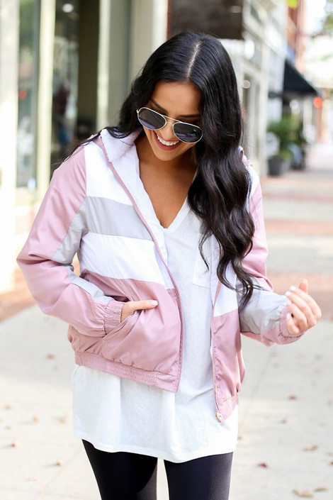 Model wearing Sherpa Lined Windbreaker from Dress Up Boutique - Front View
