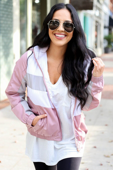 Pink - Sherpa Lined Windbreaker from Dress Up Boutique