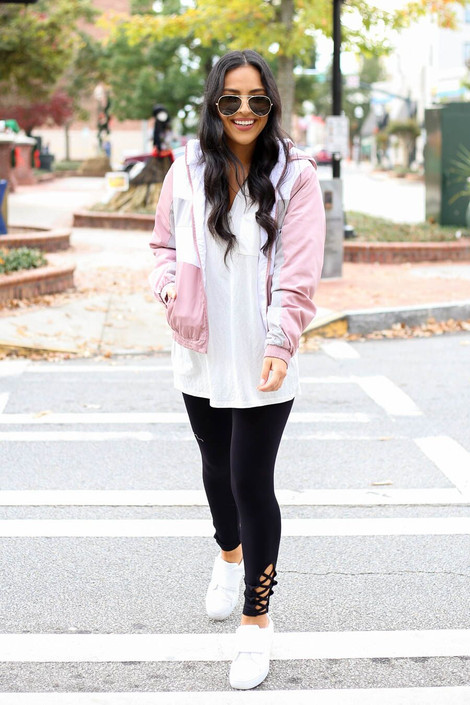 Model wearing Sherpa Lined Windbreaker from Dress Up Boutique - Full Front View
