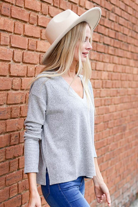 Heather Grey - Cropped Waffle Knit Top from Dress Up