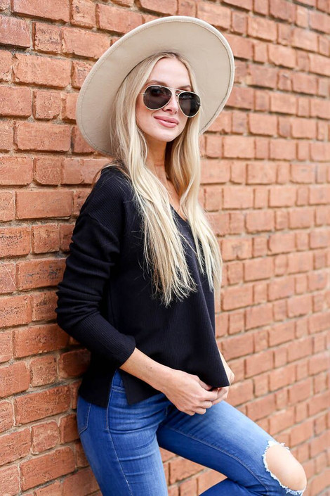 Black - Cropped Waffle Knit Top from Dress Up