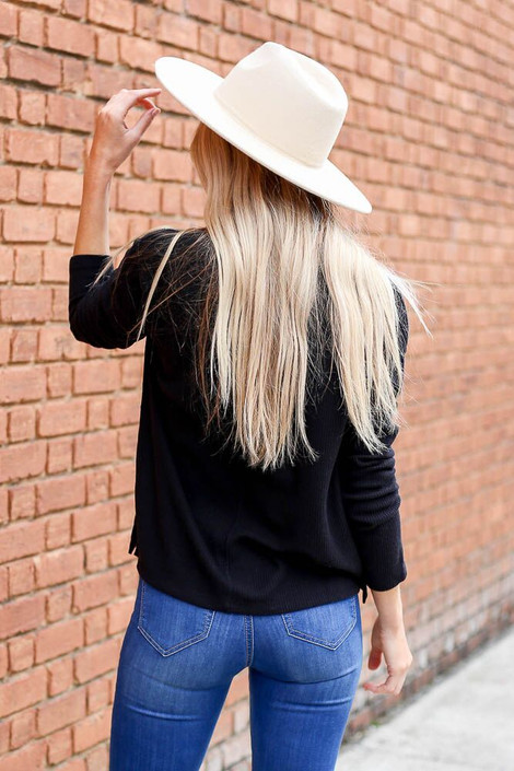 Dress Up Model wearing the Cropped Waffle Knit Top in Black - Back View