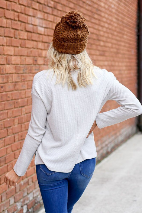 Dress Up Model wearing the Cropped Waffle Knit Top in Ivory - Back View