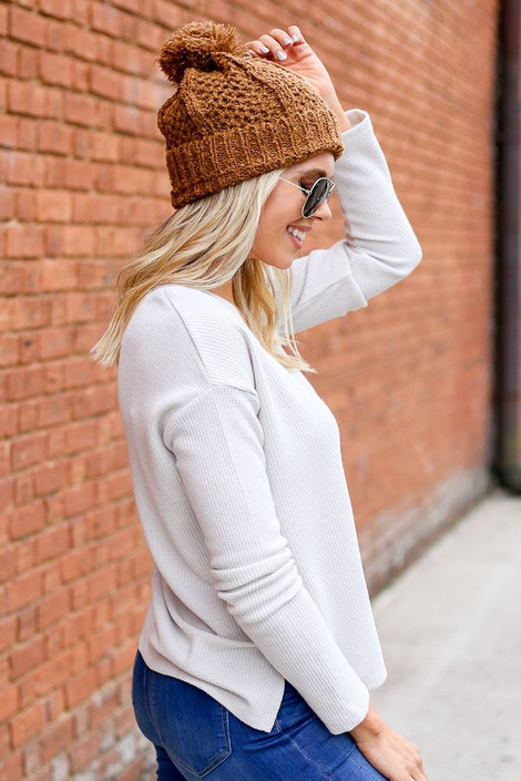Ivory - Cropped Waffle Knit Top from Dress Up