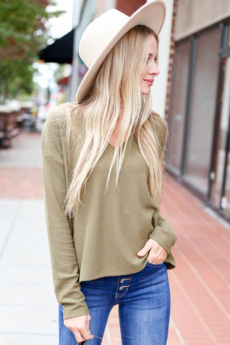 Olive - Cropped Waffle Knit Top from Dress Up