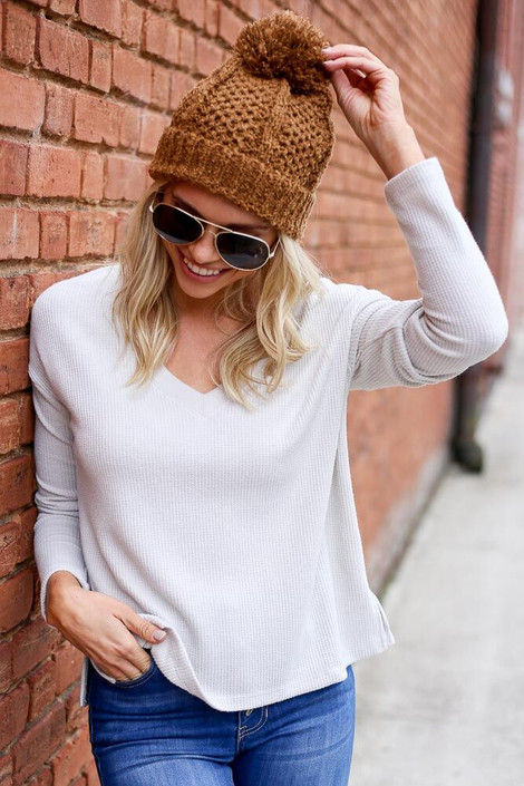 Dress Up Model wearing the Cropped Waffle Knit Top in Ivory - Front View