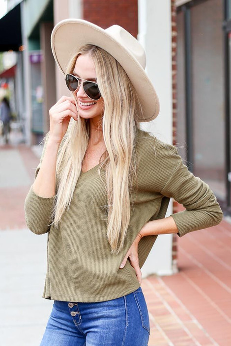 Dress Up Model wearing the Cropped Waffle Knit Top in Olive - Front View