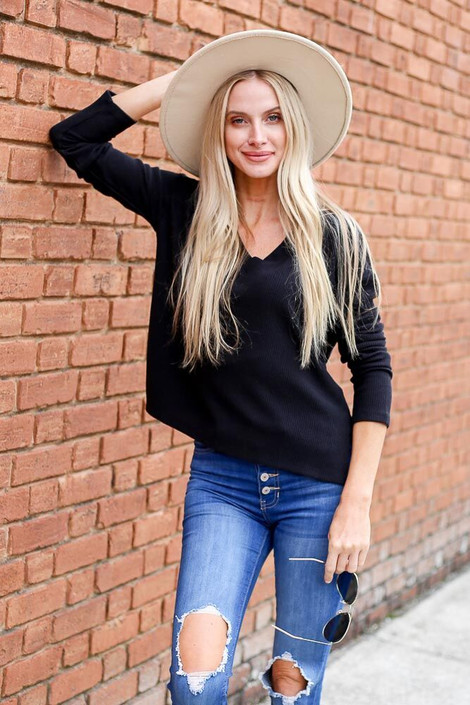 Dress Up Model wearing the Cropped Waffle Knit Top in Black - Front View