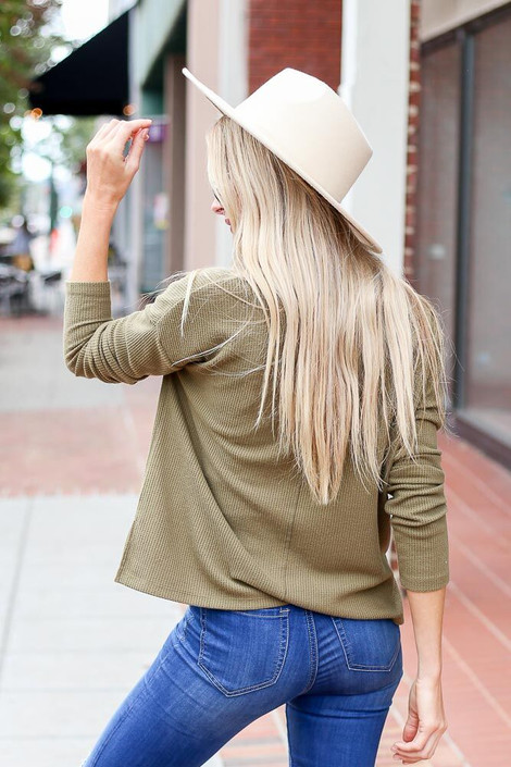 Dress Up Model wearing the Cropped Waffle Knit Top in Olive - Back View
