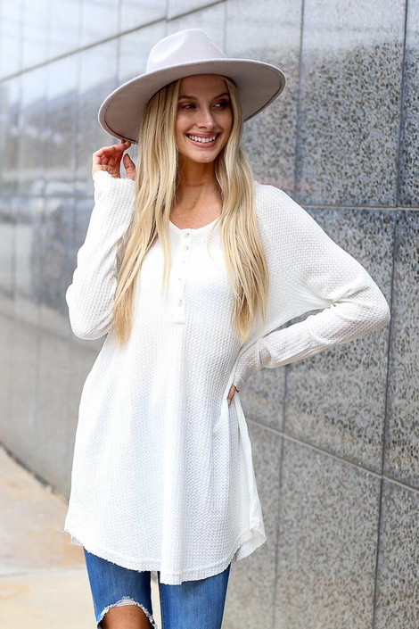 Dress Up Model wearing Waffle Knit Henley in White - Front View