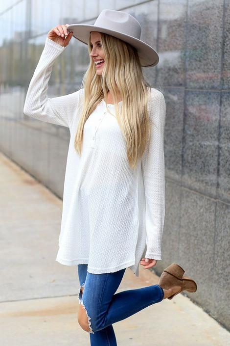 White - Waffle Knit Henley from Dress Up Boutique