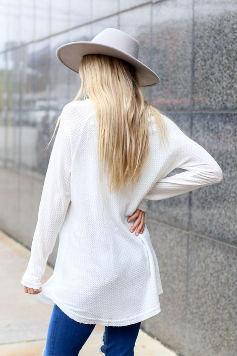 Dress Up Model wearing Waffle Knit Henley in White - Back View