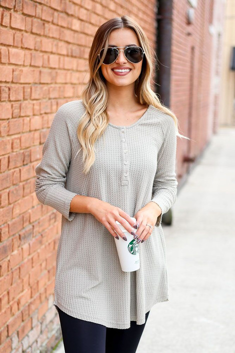 Dress Up Model wearing Waffle Knit Henley in Taupe - Front View
