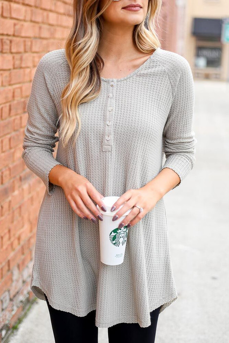 Taupe - Waffle Knit Henley from Dress Up Boutique