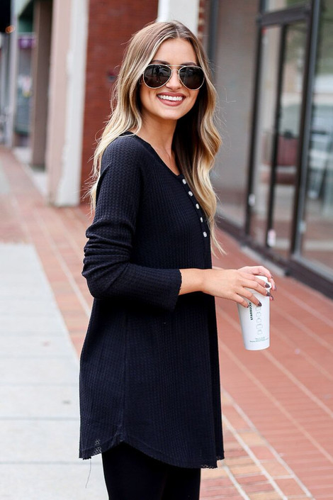 Black - Waffle Knit Henley from Dress Up Boutique