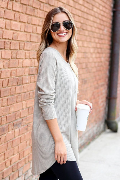 Dress Up Model wearing Waffle Knit Henley in Taupe - Side View