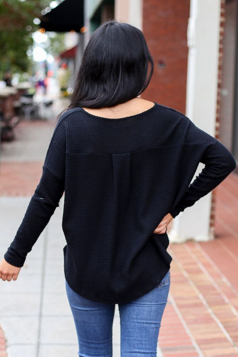 Dress Up Model wearing the Pocketed Waffle Knit Top in Black - Back View