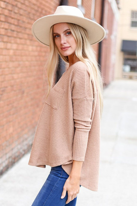 Taupe - Pocketed Waffle Knit Top from Dress Up Boutique