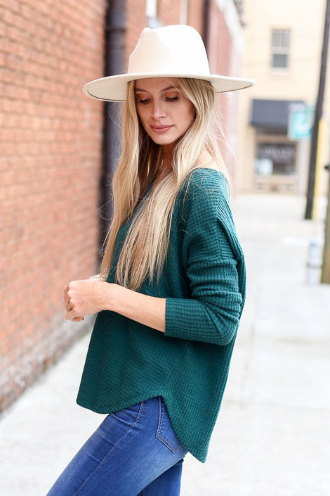 Green - Pocketed Waffle Knit Top from Dress Up Boutique
