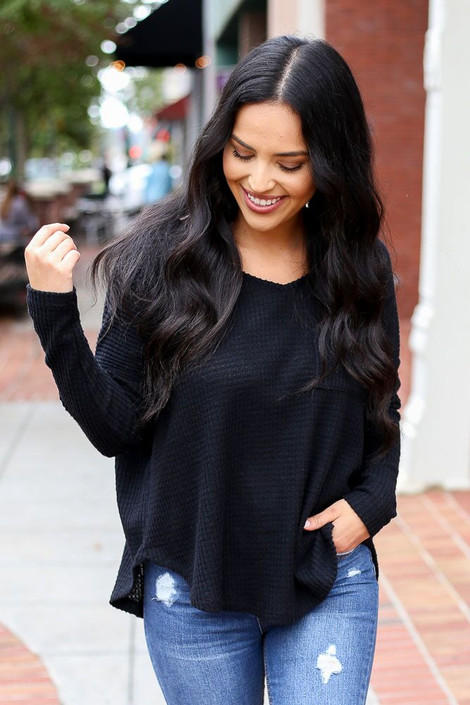 Dress Up Model wearing the Pocketed Waffle Knit Top in Black - Front View