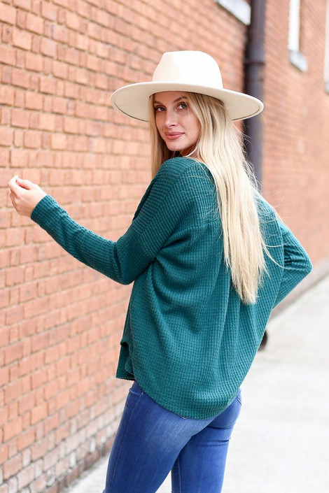 Dress Up Model wearing the Pocketed Waffle Knit Top in Green - Back View