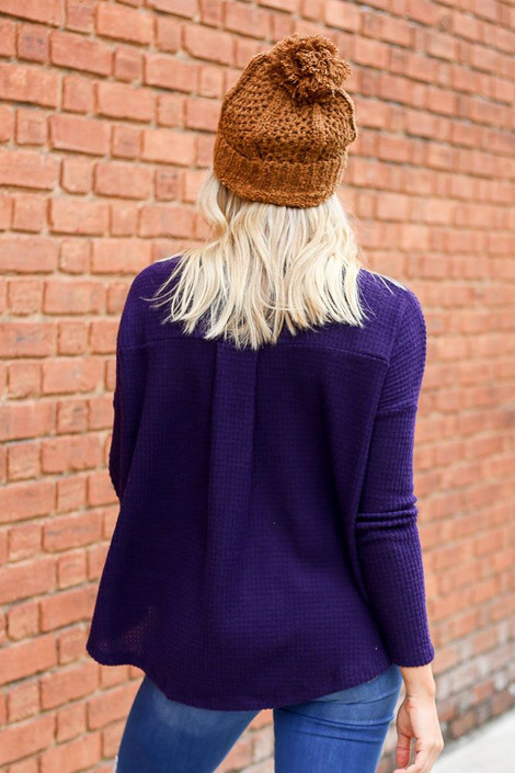 Dress Up Model wearing the Pocketed Waffle Knit Top in Purple - Back View