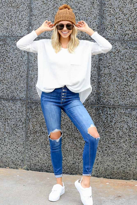 Dress Up Model wearing the Pocketed Waffle Knit Top in White - Front View
