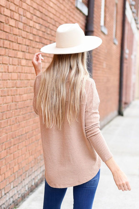 Dress Up Model wearing the Pocketed Waffle Knit Top in Taupe - Back View