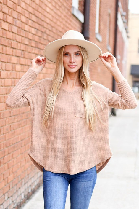 Dress Up Model wearing the Pocketed Waffle Knit Top in Taupe - Front View