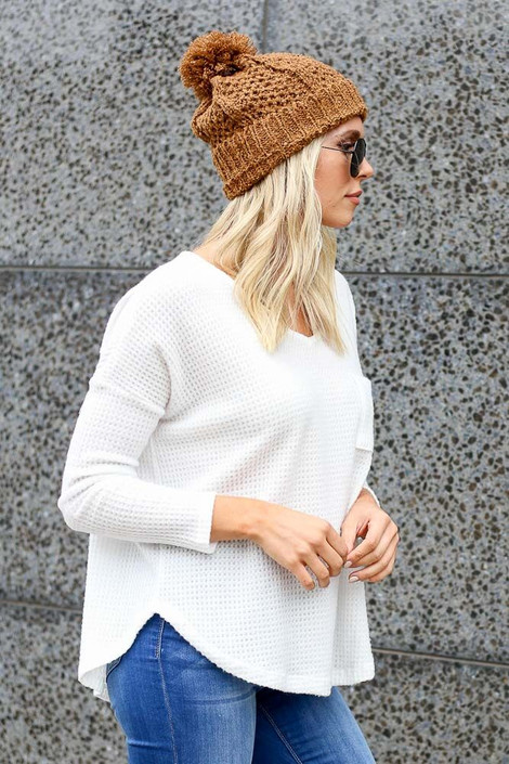 White - Pocketed Waffle Knit Top from Dress Up Boutique