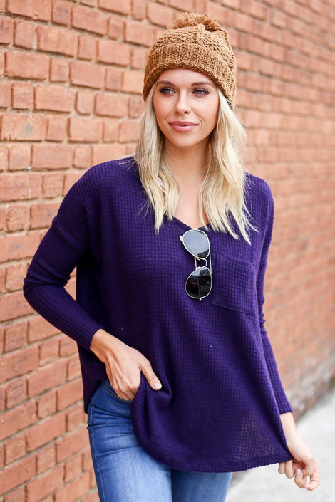 Dress Up Model wearing the Pocketed Waffle Knit Top in Purple - Front View