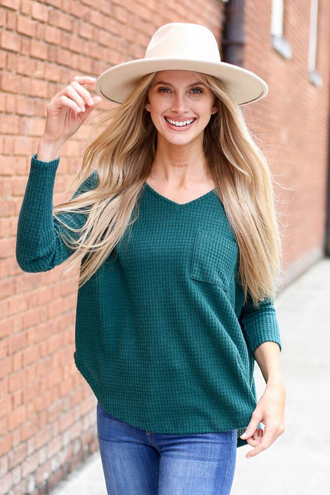 Dress Up Model wearing the Pocketed Waffle Knit Top in Green - Front View