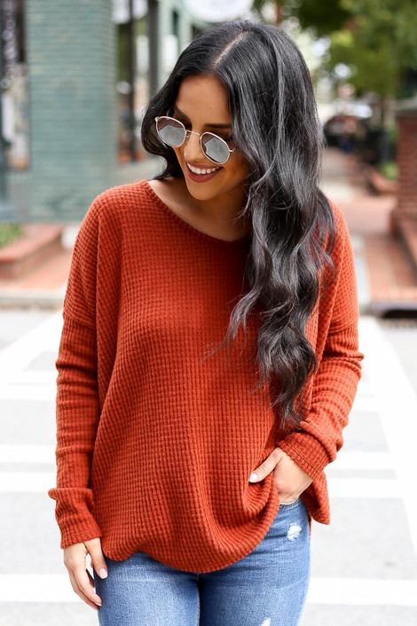 Rust - Pocketed Waffle Knit Top from Dress Up Boutique