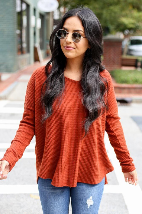 Dress Up Model wearing the Pocketed Waffle Knit Top in Rust - Front View