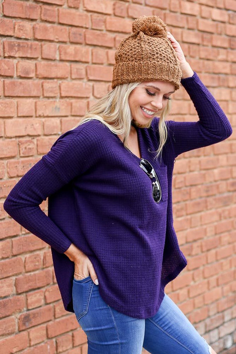 Purple - Pocketed Waffle Knit Top from Dress Up Boutique