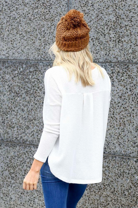 Dress Up Model wearing the Pocketed Waffle Knit Top in White - Back View