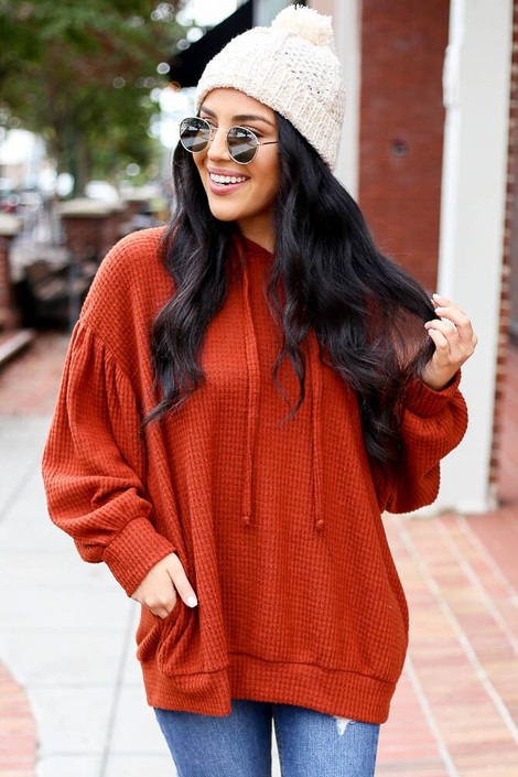 Rust - Waffle Knit Balloon Sleeve Hoodie from Dress Up Boutique