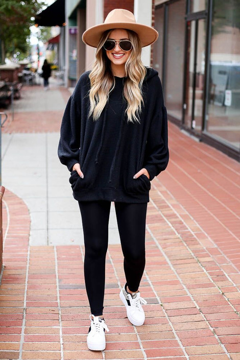 Black - Waffle Knit Balloon Sleeve Hoodie from Dress Up Boutique