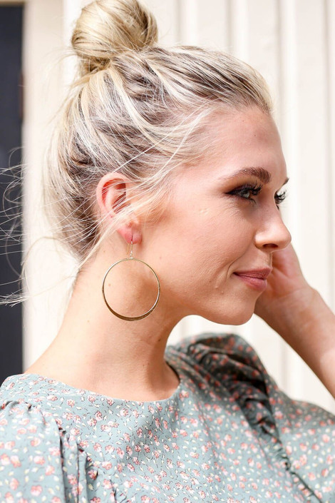 Gold - Dangle Hoop Earrings from Dress Up Boutique