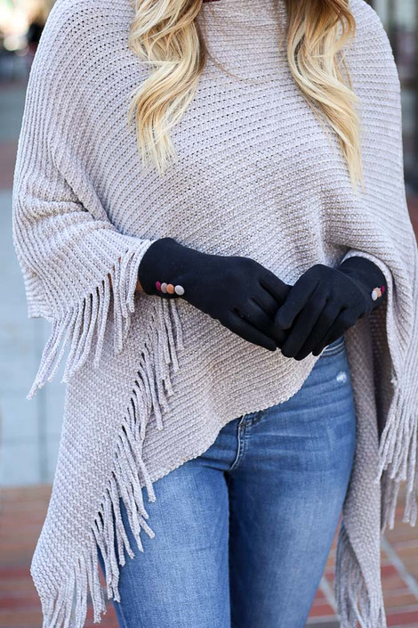 Model wearing Soft Knit Tech Gloves in Black from Dress Up Boutique