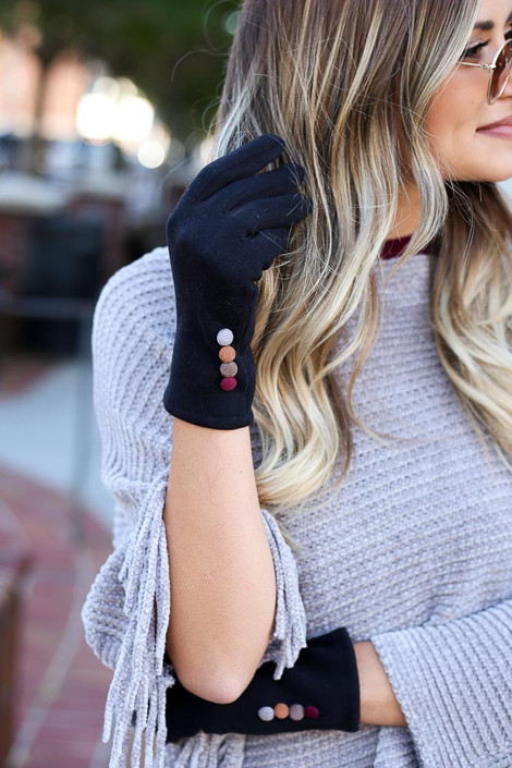 Black - Soft Knit Tech Gloves from Dress Up Boutique